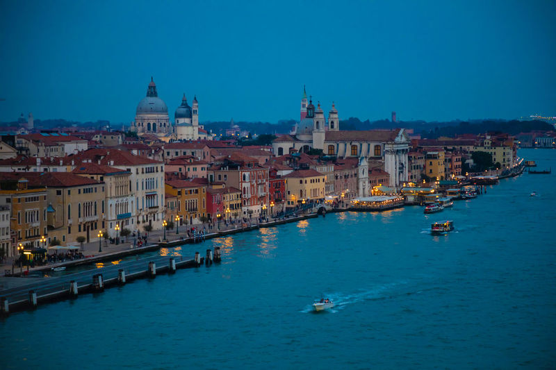 Venice Italy Night Evening Light Building Exterior Architecture Built Structure Water Building City Nautical Vessel Sky Transportation Nature Blue Religion Residential District Place Of Worship Mode Of Transportation Travel Destinations Waterfront Travel No People Outdoors Canal Cityscape Passenger Craft