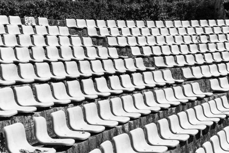 Abstract Abundance Arrangement Backgrounds Black & White Blackandwhite Geometry No People Order Pattern Side By Side Stadium