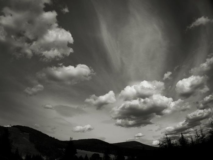 Sky Clouds And Sky Mountains And Sky Silhouette Black And White