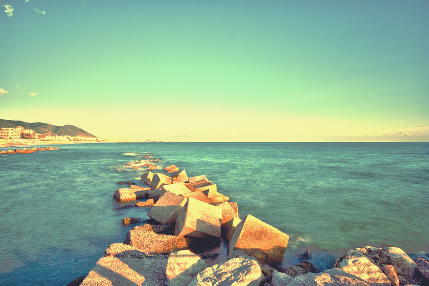 Rocks And Water Sea Sea And Sky Seascape Day Sunset No People Sky Sunset_collection Sunset Time Seafront Seafront View Salerno