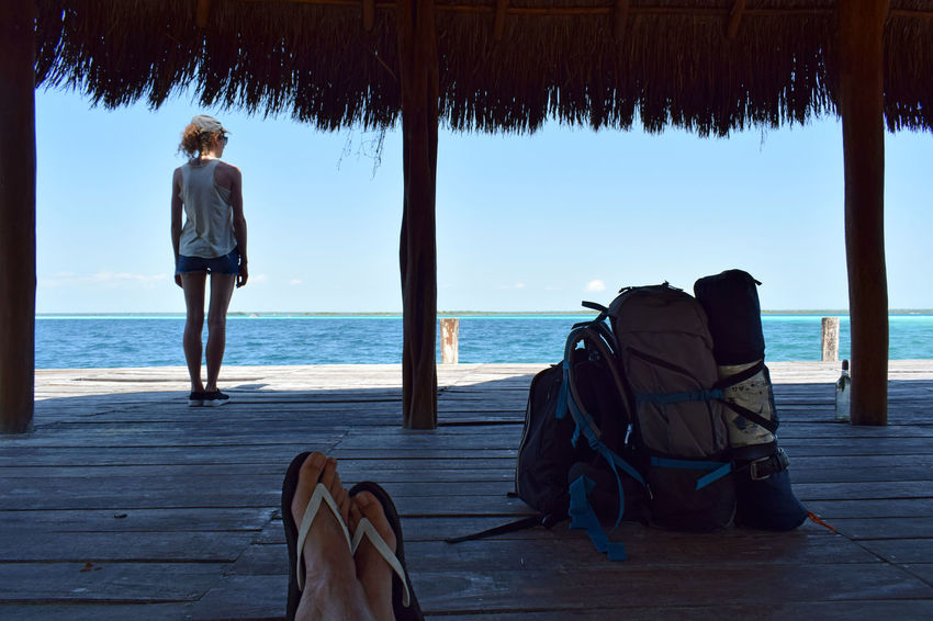 Bacalar Bacalar Lagoon Girl Power Mexico Travelling Trip Backpack Beach Beauty In Nature Girl Horizon Over Water Leisure Activity One Person Outdoors Real People Rest Scenics Sea Standing Sunbathing Vacations Water Women