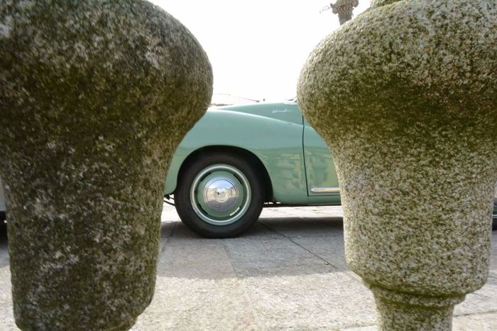 Car Transportation Mode Of Transport Outdoors Old Mobile Lime Green Stone Fence