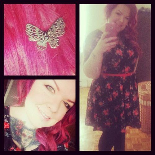 Feeling romantic today Pinkclove Pinkhair Pinkhairdontcare Butterfly tattooedlady tattooedgirl romantic girlswithradhair geekgirl