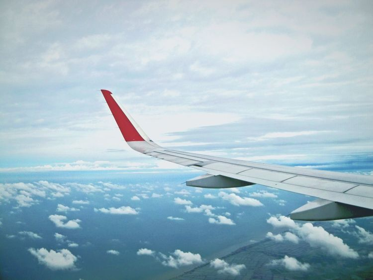 In flight above North Coast Line ( Pantura ) Indonesia Airplane Aerial View Transportation Flying Air Vehicle Cloud - Sky Aircraft Wing Day Sky Mid-air No People Commercial Airplane Inflight Inflightpictures InFlightPhoto Let's Go. Together.