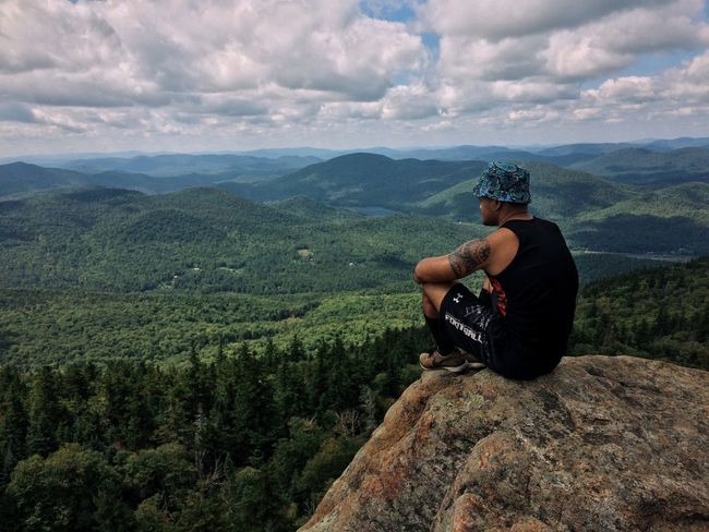 Mountain Real People One Person Cloud - Sky Sky Landscape Beauty In Nature Mountain Range Adventure Nature Outdoors Day Scenics Adirondack Mountains Adirondacks Hiking Hikingadventures Hike Hiking Adventures Hiking❤ The Great Outdoors - 2017 EyeEm Awards