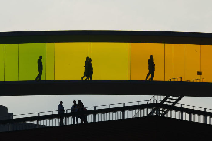 Architecture Art Arts Culture And Entertainment Bridge - Man Made Structure Glas Light Light And Shadow Modern Architecture Nikon 28-300 Nikon D3s Olafur Eliasson Real People Silhouette Walking Århus ARos Art Museum Aros Better Look Twice Nikon Nikonphotography
