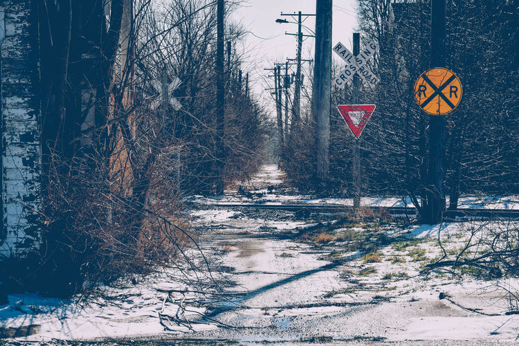 Cinematic Cinematic Photography Nikon Nikonphotography Railroad Crossing Railroad Crossing Sign Snow Winter Railroad Track Pathway Path Ohio, USA USA Photos