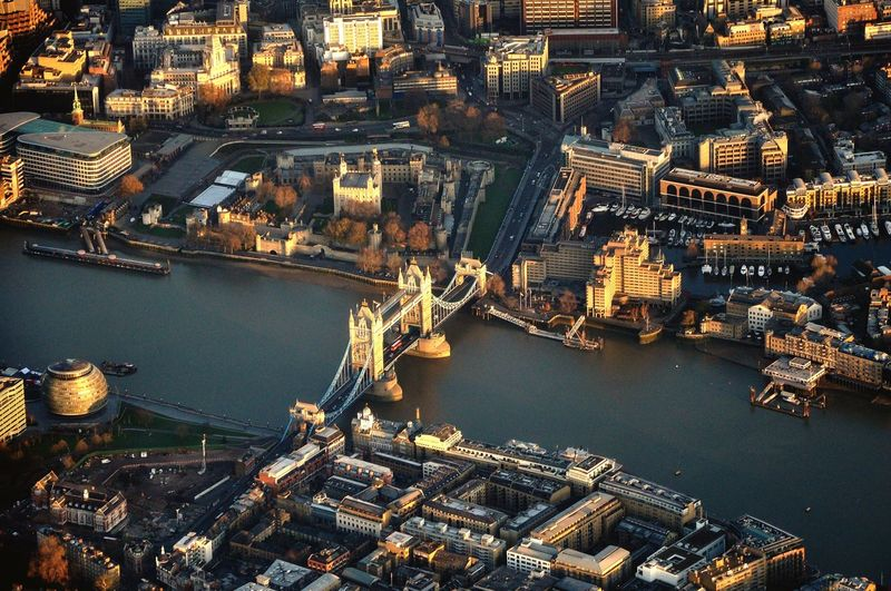 High angle view of city of london  at waterfront