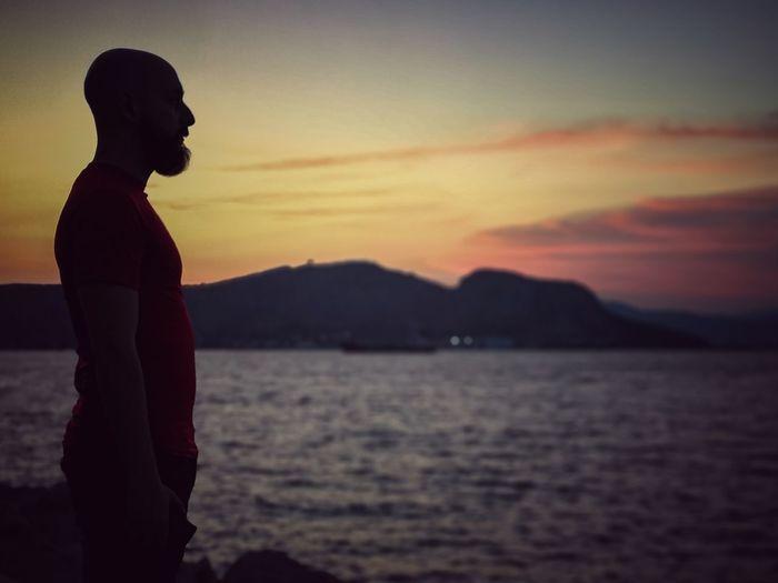 Sky Man Mountains Dawn Water Sea Sunset Standing