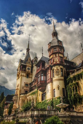 Architecture Building Exterior Built Structure Sky Low Angle View Cloud - Sky Tower Outdoors Travel Destinations City Day Castle King Queen Romania Peles Peles Castle