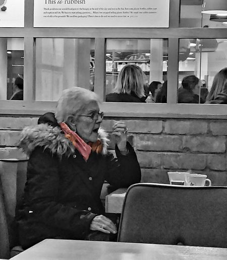 grabbing a coffee Coffee Coffee Shop Grandma Old Age People Photowalktheworld EyeEm Selects Black And White Healthcare And Medicine Human Hand Addiction Smoking - Activity Customer  Senior Adult Smoking Unhealthy Living
