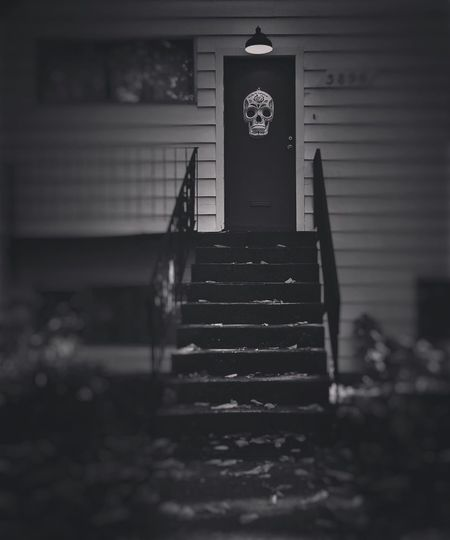 Trick, or Treat. Steps Steps And Staircases No People Staircase Black & White Skull Halloween Halloween_Collection Blackandwhite Photography Blackandwhite Vancouver Exterior Building