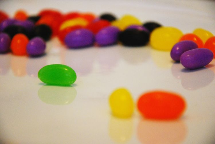 Close-up of jellybeans on table