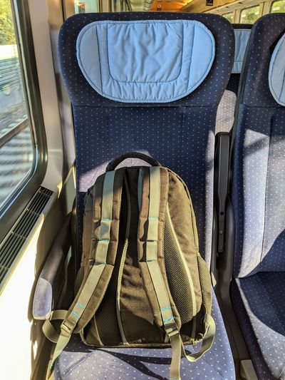 Bag on seat in bus