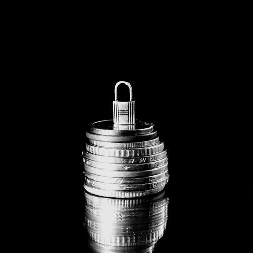 protect your money Cyber Crime Life Asset Investment Salary Savings Safe Protect Security Black Background Studio Shot Copy Space Single Object No People Close-up Indoors