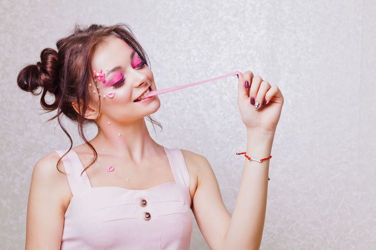 Bubble Wand Bubbles Colour Your Horizn Funny Happiness Lipstick Pink Bubble Bubblegum Chewing Chewing Gum Fashion Model Holding Leisure Activity Making Bubbles Pink Color Pretty
