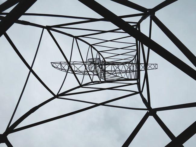 Pattern Pieces Pylons Transmission Line Tower Power Pole January Oberhausen Zauberlehrling Looking Up