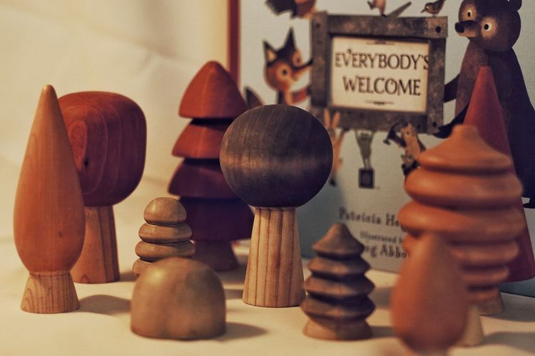 Close-up of objects on wood