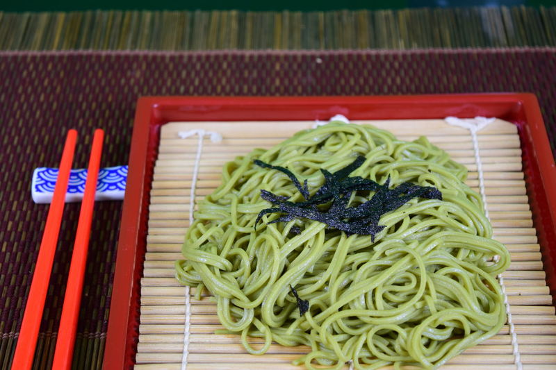 Red Soba Buck Wheat Shopsticks Soba Noodles Seaweed Table Plate Close-up Food And Drink