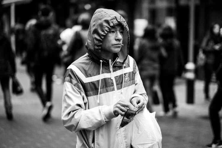 China Town London Man Rain Soho Tobacco Black And White Chinese Chinese Man Cigarette  Cold Guy Handrolled Hood Hoodie Monochrome Monochrome Photography Outdoors Outside Rolling Uk