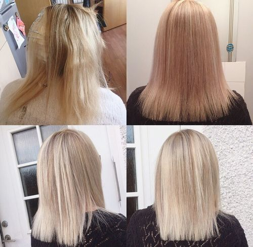 HUUUUUR. Top right photo is with just regular house lights. 2x bottom photos is natural light. Hair Colour Wella Fanola Blondie