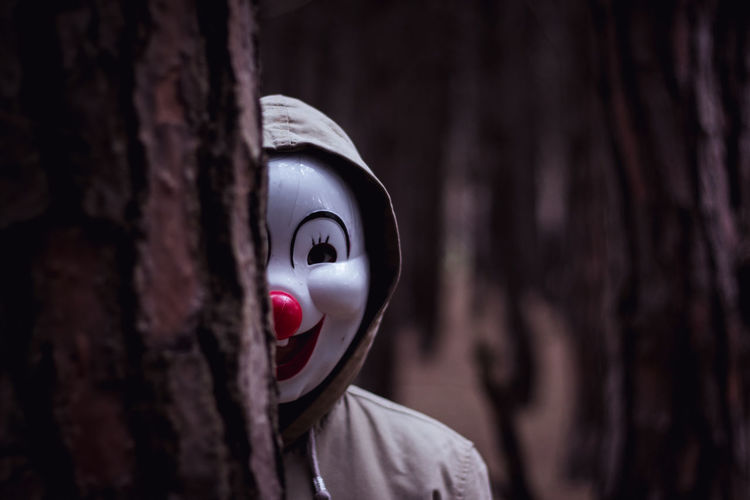 a clown in the woods Buenos Aires Creativity Funny Buenosaires Close-up Clown Colorful Disguise Emotion Forest Forest Trees Headshot Human Face Mask Mask - Disguise Outdoor Photography Outdoors People Portrait Portrait Photography Representation Smile Tree The Creative - 2018 EyeEm Awards