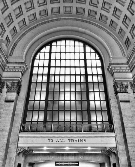 Low Angle View Of Arch Window In Great Hall At Union Station