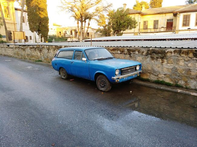 Car Transportation Mode Of Transport Land Vehicle No People Day Outdoors Architecture Oldtimer Nicosia Nicosia, Cyprus North Cyprus Northern Cyprus Blue Car