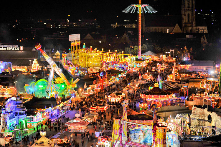 Landscape at funfair by night