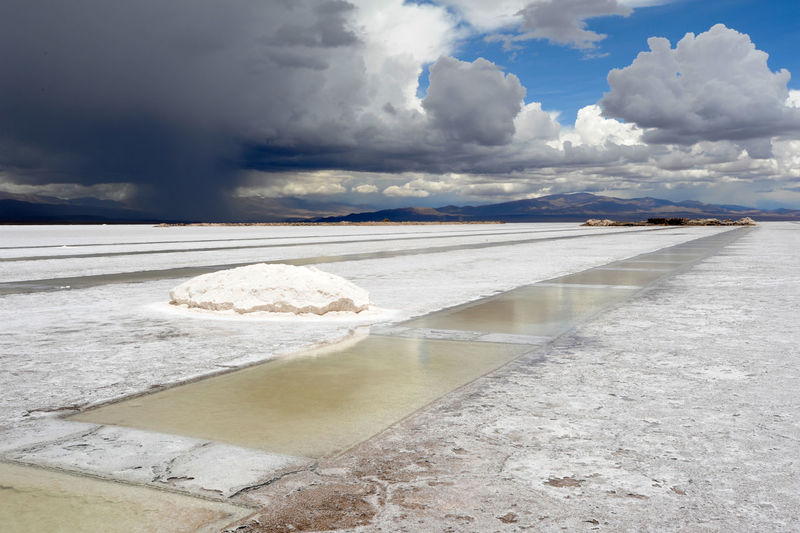 Scenic view of salt basin against cloudy sky