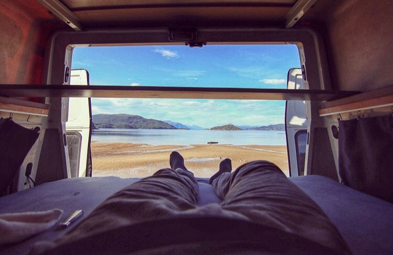 Vanlife ❤️ Goodmorning :) Travel Roadtrip Campinglife Camper Low Section Sky Human Body Part Human Leg Body Part Personal Perspective Sea Nature