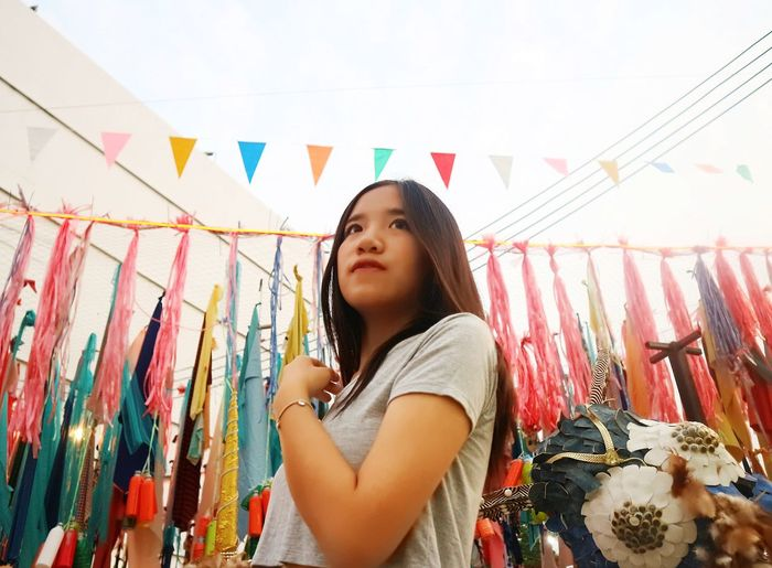 Thai Colorful Colors Hang Hanging Lope Teen Teenage Beautiful Woman Longhair Sky She Landmark Park Market Colors Girl Woman