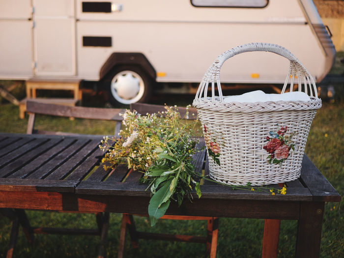 Camping Farm Rustic Serbia Travel Basket Bench Camper Chair Day Flower Flowering Plant Food And Drink Freshness Land Vehicle Mode Of Transportation Nature No People Outdoors Plant Seat Table Vintage Wicker Wood - Material