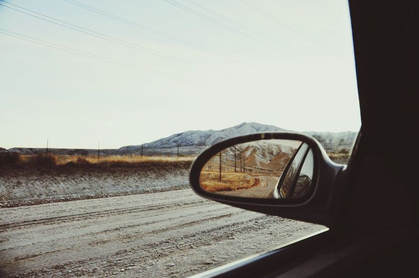 Road Car Cars Mirror Mirror Reflection Mirrors Mirror Picture Landscape_Collection Landscape Dirt Road Dirt Roads