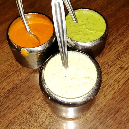 South Indian Food Chutney Drink Matcha Tea Drinking Glass Drinking Straw Table High Angle View Bowl Still Life Close-up Food And Drink Pastry