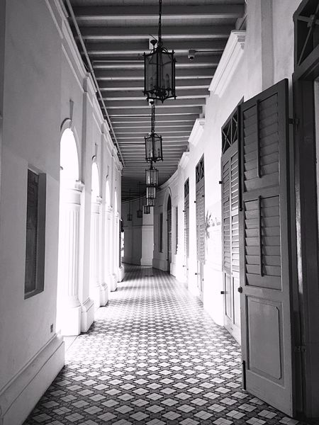 Architecture Built Structure No People Colonial Building Historical Building Old School Arcades Hallway Black And White Black And White Photography Travel Travel Destinations Singapore Biennale Singapore School Conversion Museum Peaceful Place The Way Forward Neighborhood Map