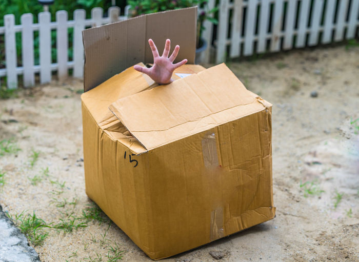 Cropped hand of person hiding in cardboard box