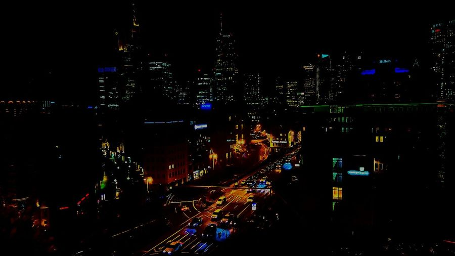 Illuminated Night City Outdoors EyeEm Gallery EyeEm Best Shots Capture The Moment EyeEm Frankfurt Am Main Above The Flemming's Hotel High Angle View High Up By Night View From Above View From The Top From My Point Of View View Open Edit Skyscrapers Nightphotography Streetviewphotography Streetphotography EyeEm Masterclass Eyeem Frankfurt Am Main EyeEm By Night