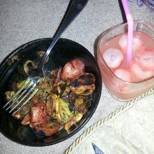 Stir fry for dinner. Peanutbutter Stirfry Sauce Broccoli potatoes cabbage squash zucchini strawberrylemonade