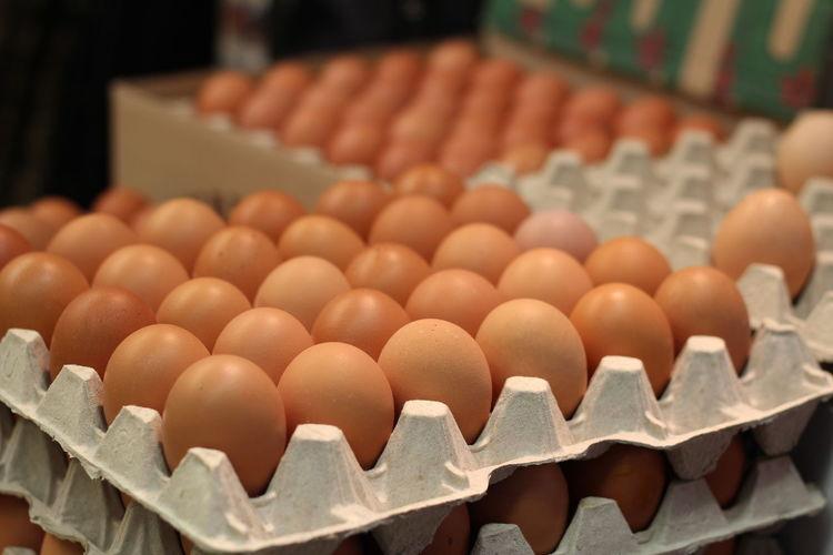 High angle view of eggs carton at hakaniemi market hall