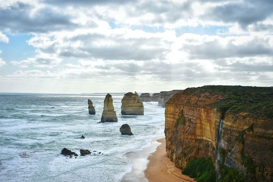 Sea Beach Horizon Over Water Cloud - Sky Scenics Sand Wave Landscape Beauty In Nature Nature Travel Destinations Outdoors Sky Day No People Lighthouse Water Cliff Vacations Nikon Greatoceanroad Dramatic Landscape Melbourne Australia Twelveapostles