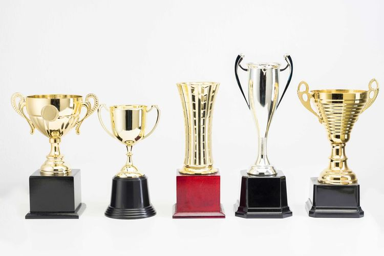 Variety of Trophy Cup on white background AWARD Trophy Success Achievement Winning Side By Side No People Still Life Shiny Studio Shot Indoors  Group Of Objects Gold Colored In A Row White Background Variation Choice Metal Arrangement Silver Colored Brightly Lit