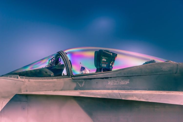 Transportation Outdoors Night Illuminated Real People Multi Colored Airplane Sky One Person People The Week On EyeEm Military Fastandfurious Jet Military Airplane Mode Of Transport Glass Dome Fast Close Up Dome Flight Engineering Technology Transportation Reflection