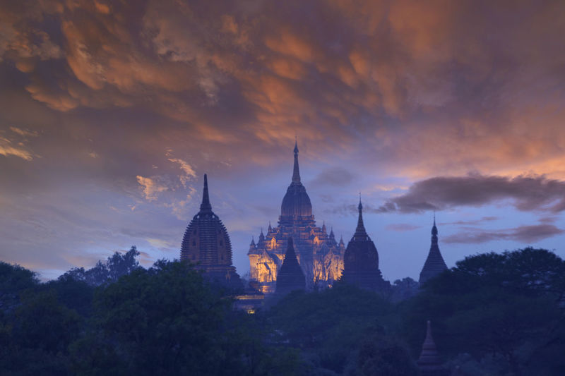 Ancient pagoda which is burmese architecture in the world heritage site in the morning of bagan