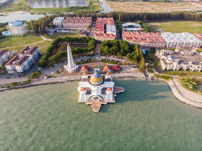 Malacca Straits Mosque, Malaysia High Angle View Water Nature Day Plant Architecture Built Structure Building Exterior Outdoors Travel Tree Aerial View Rear View Melaka Malacca Malaysia ASIA Mosque Melaka Straits Mosque