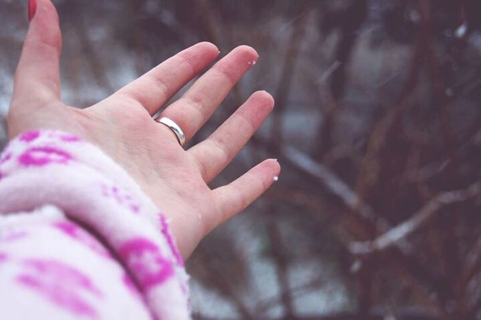 Winter Hand Cold Snow Ring Pink February Weather