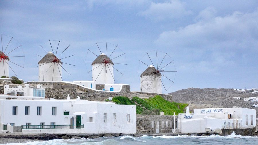 Mykonos Greece Windmill Travel Destinations Architecture Built Structure Building Exterior Building Sky City Nature Travel Destinations No People Alternative Energy Outdoors Water Renewable Energy Wind Power Travel