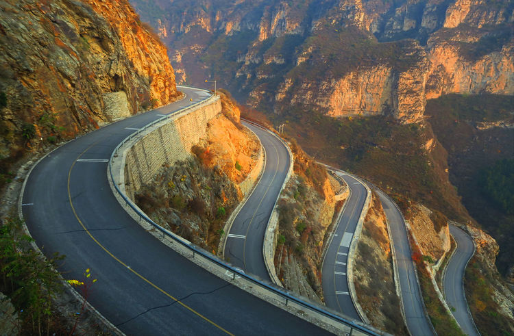 Road on the mountain! Mountain Beijing, China Sunset Roads