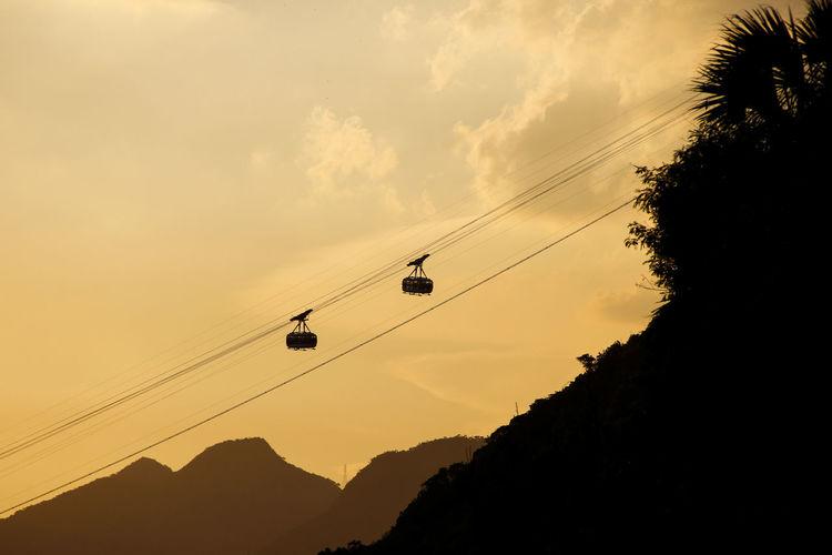 Bondinho Cable Car Pão De Açucar Rio De Janeiro Teleferico Day No People Outdoors Sky South America Sugarloaf Sunset Yellow