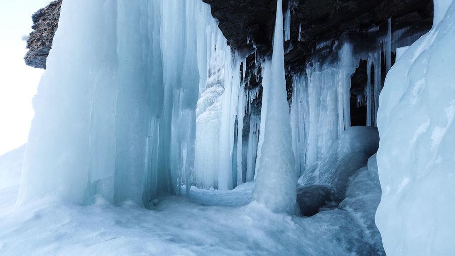 Panoramic view of frozen lake during winter